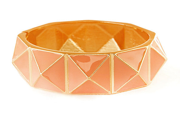 Pyramid Bangle Bracelet- Peach