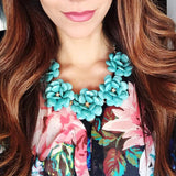 Beaded Rosette Statement Necklace- Turquoise