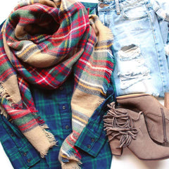 Mad For Plaid Blanket Scarf- Multi