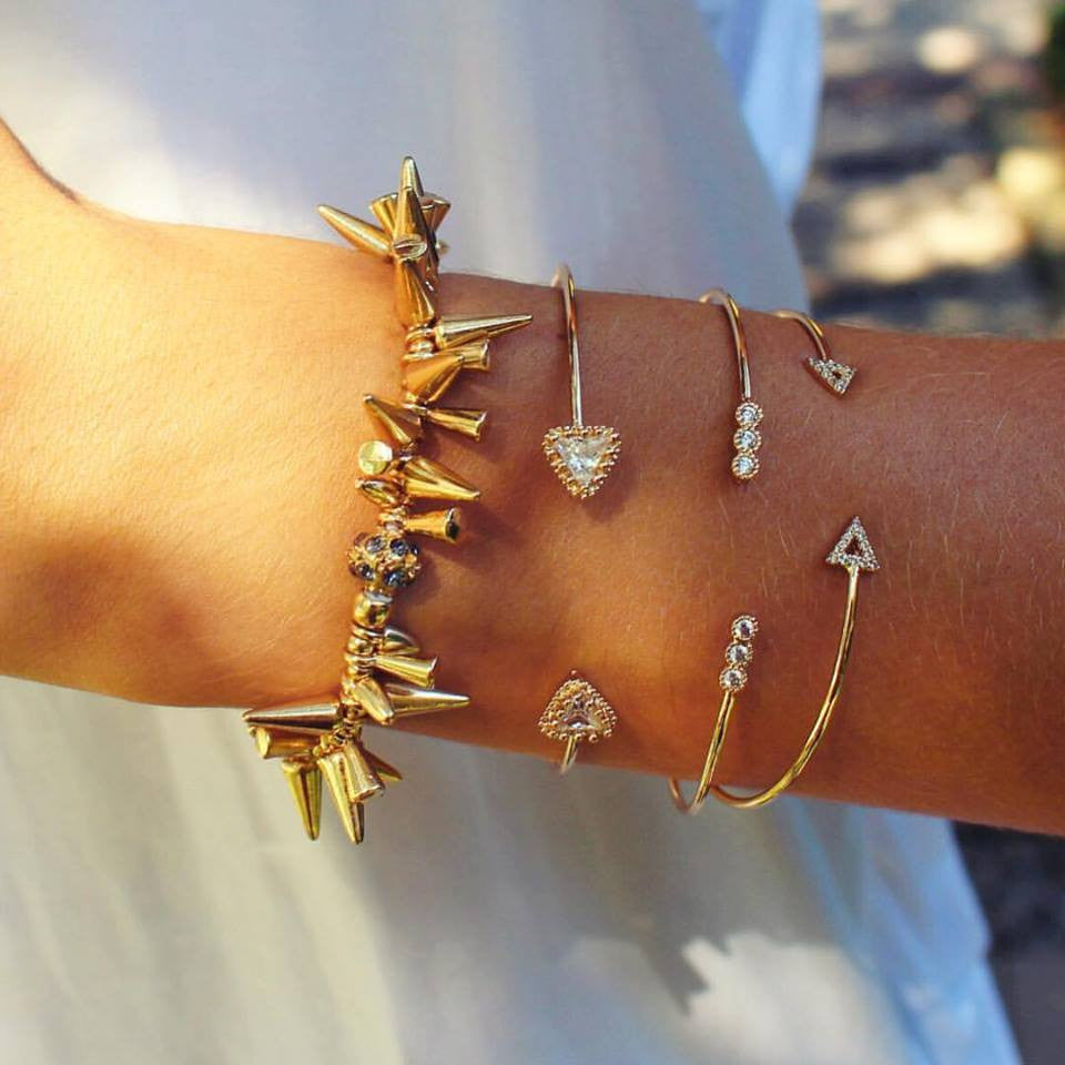 Studded Renegade Cluster Stretch Bracelet- Gold