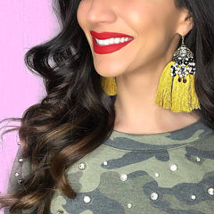 Amelia Tassel Earrings- Mustard