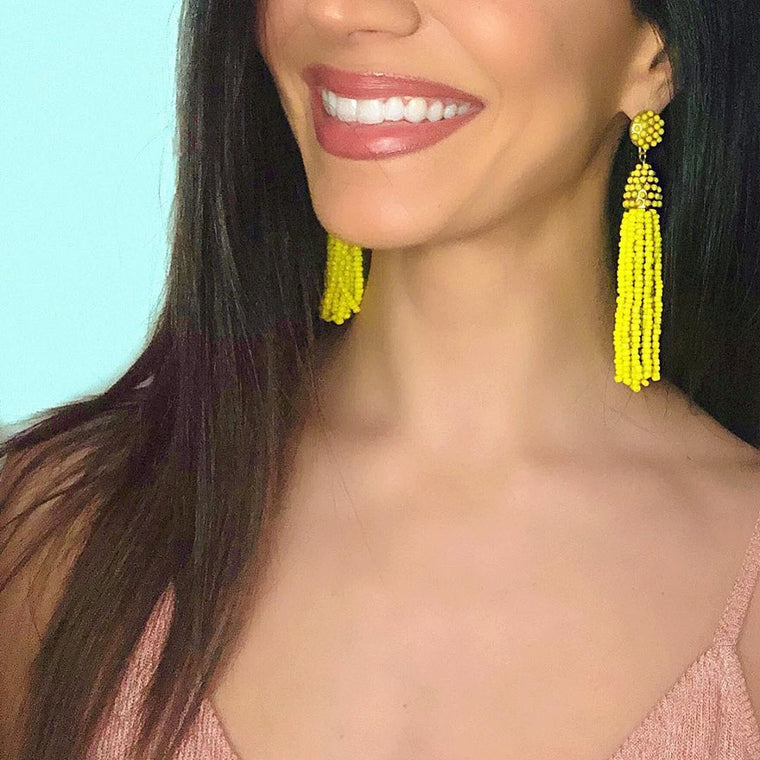 Victoria Joy Tassel Earrings- Yellow