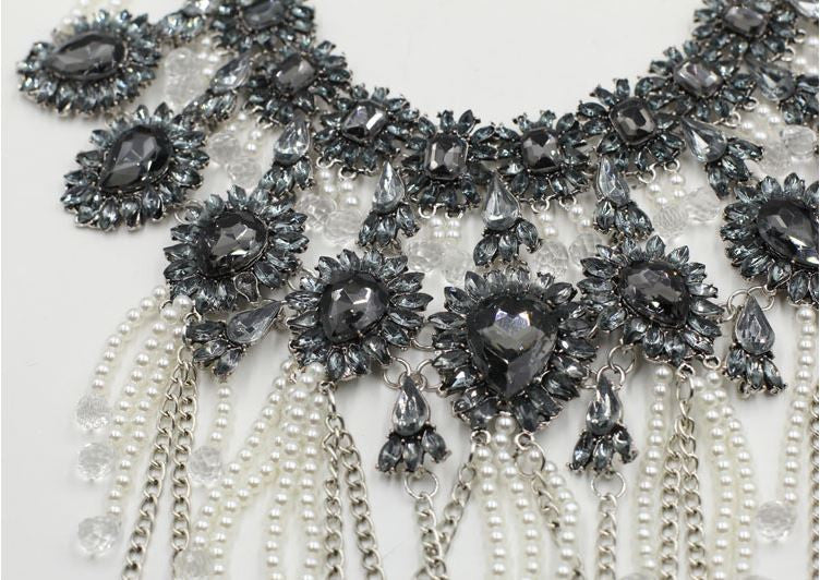 Luxe Chains & Pearls Fringe Statement Necklace