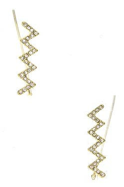 Zig & Zag Pavé Ear Crawlers- Gold