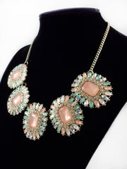Luxe Crystal Statement Necklace-Light Pink