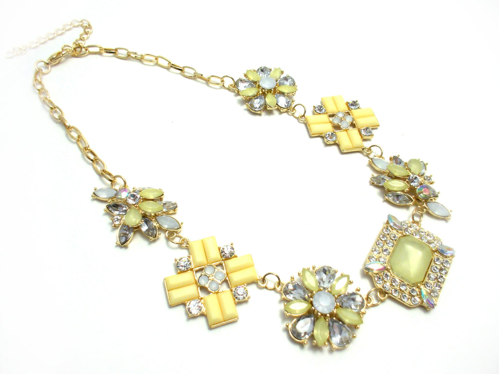 Crystal Cluster Jewels Statement Necklace- Yellow