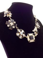 Crystal Cluster Jewels Statement Necklace- Black