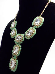 Crystal Beaded Drop Jewels Statement Necklace