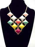 Colorful Gemstone Jeweled Statement Necklace