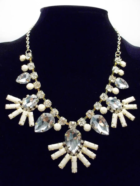 Crystal Fan Statement Necklace- Ivory