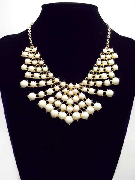 Colored Rhinestone Fan Statement Necklace- Ivory