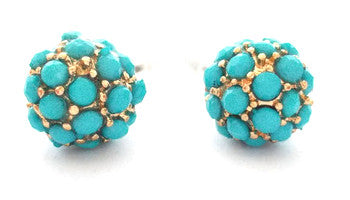 Pavé Dot Earrings- Turquoise