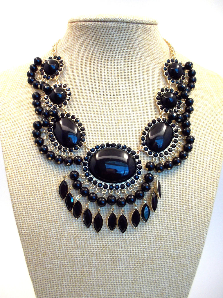 Bauble Fan Fringe Statement Necklace- Black