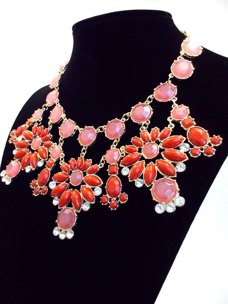 Jeweled Floral Snowflakes Statement Necklace- Red