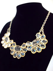 Clear Lucite Jeweled Floral Necklace