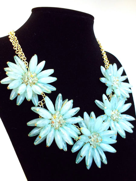 Blossom Flower Statement Necklace- Mint