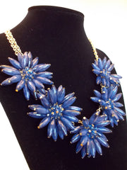 Blossom Flower Statement Necklace- Navy