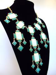 Jeweled Gemstone Deco Bauble Statement Necklace