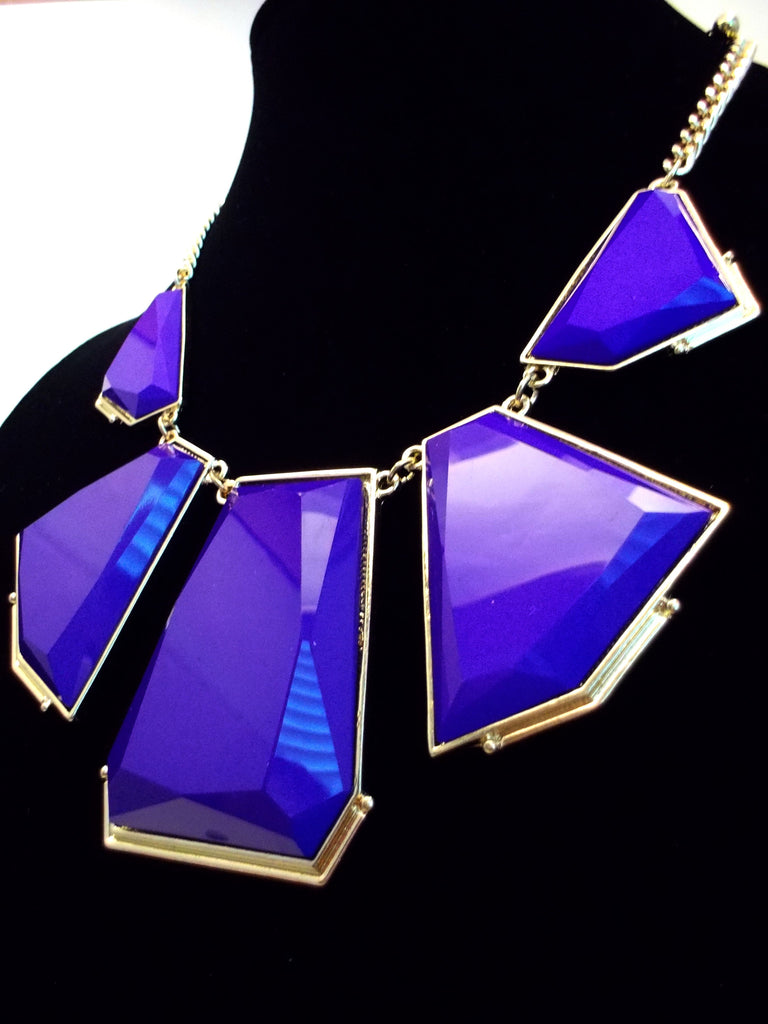Deco Bib Statement Necklace- Purple