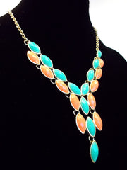 Y-Shaped Teardrop Jeweled Necklace