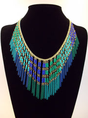 Boho Beaded Fringe Statement Necklace- Blue