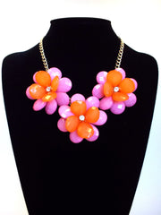 Colorblock Rosette Necklace