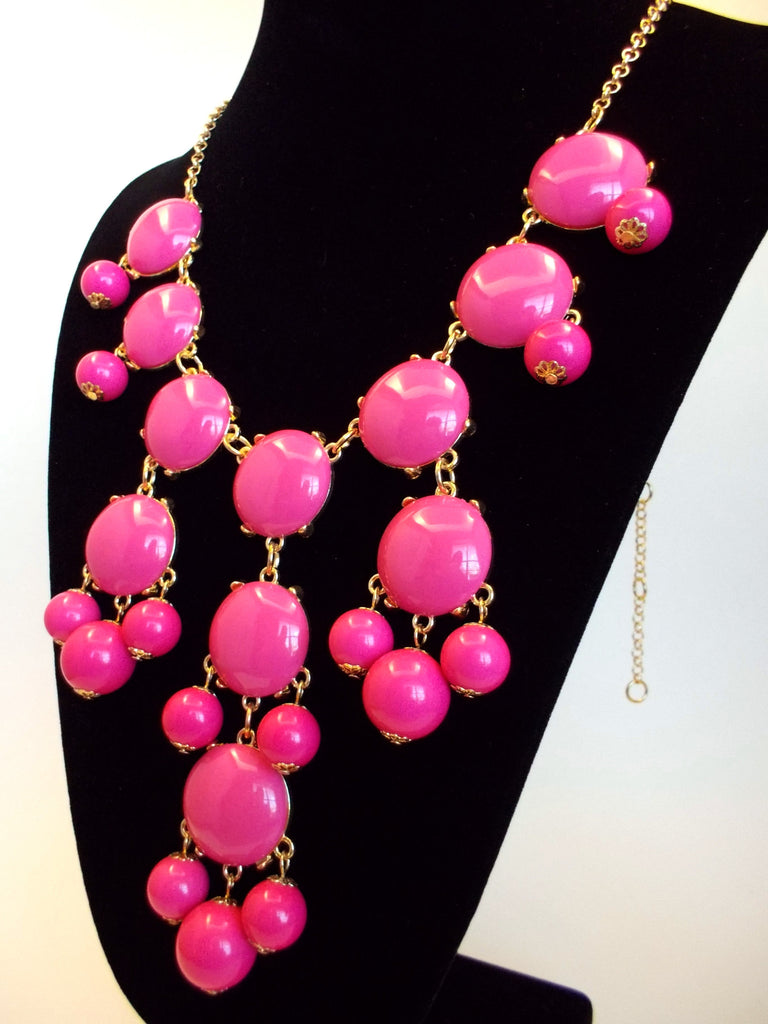 Bubble Statement Necklace- Pink