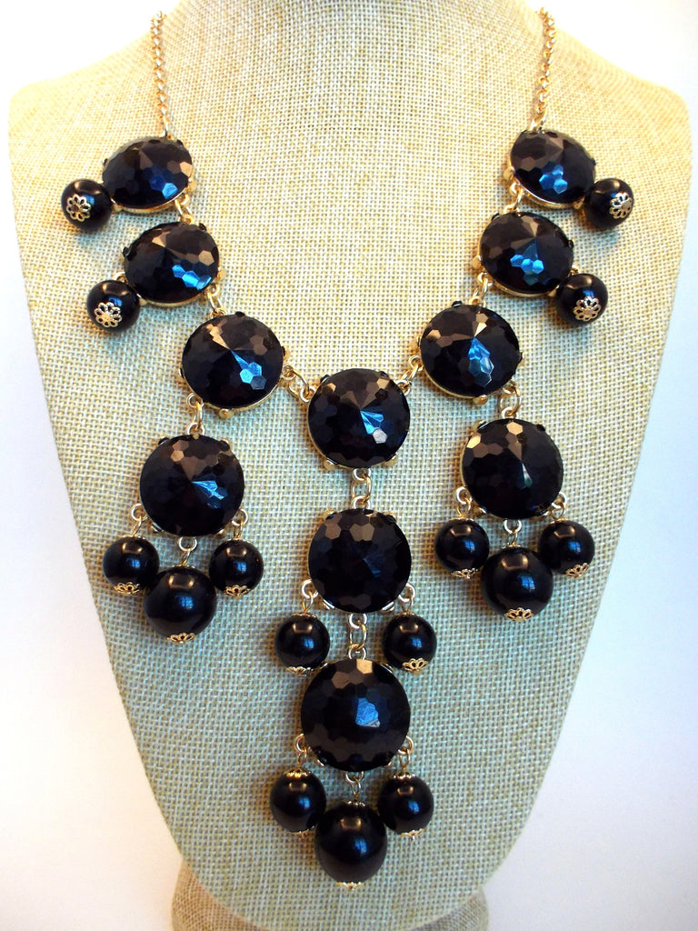 Bubble JEWELED Statement Necklace- Black