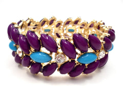 Designer Inspired Floral Leaf Stretch Bracelet- 3 Color Options