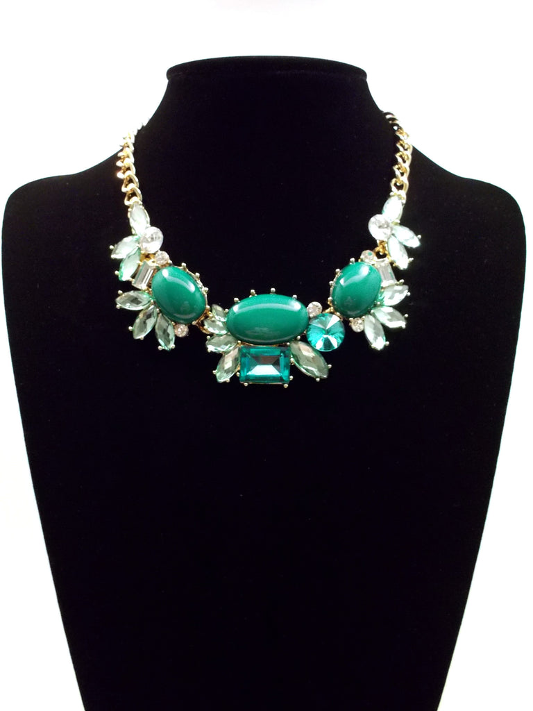 Crystal Cluster Statement Necklace- Green
