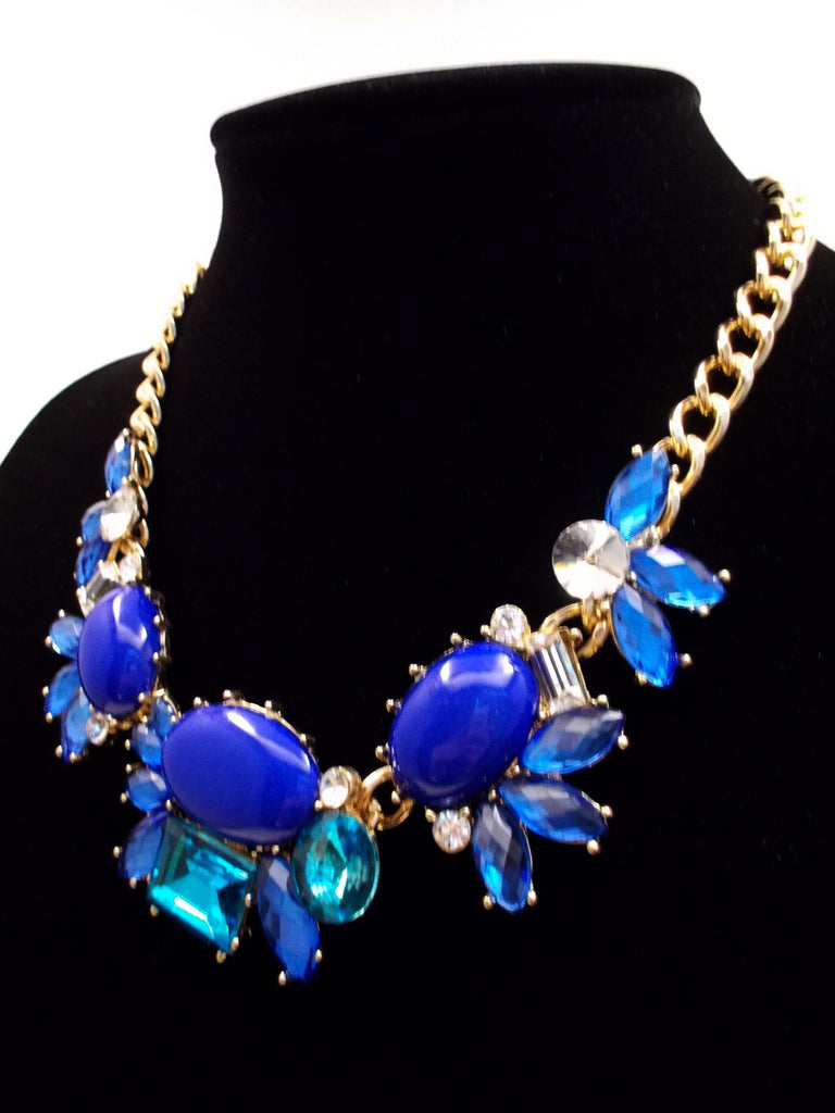 Crystal Cluster Statement Necklace- Royal