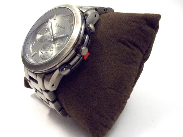 Metal Oversized Geneva Platinum Watch- Gunmetal