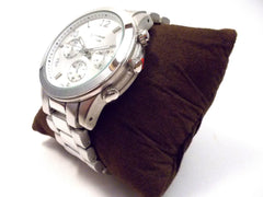 Metal Oversized Geneva Platinum Watch- Silver