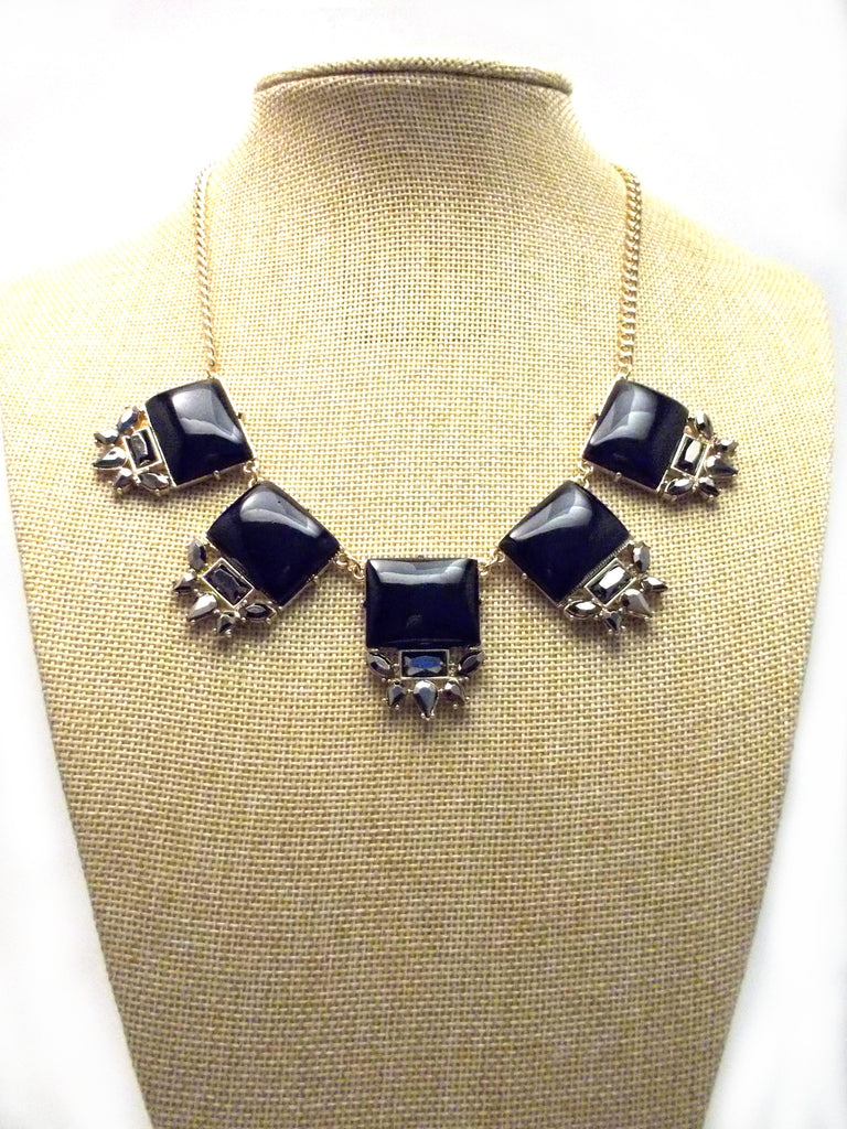 Black Square Jeweled Gemstone Necklace