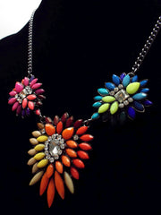 Neon Leaves Statement Necklace- Neon Multi