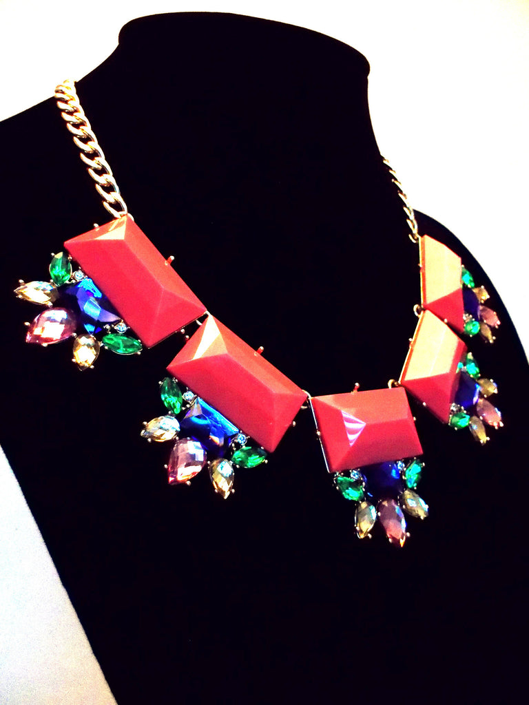 Colorful Jeweled Gemstone Statement Necklace- Coral Pink