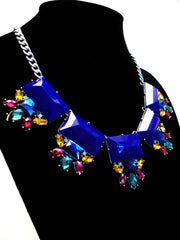 Colorful Jeweled Gemstone Statement Necklace- Royal
