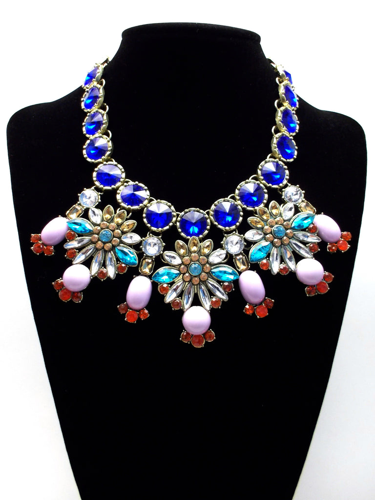 Luxe Cobalt Crystal Firework Statement Necklace