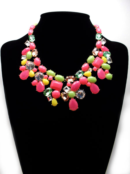 Candy Color Mix Statement Necklace- Neon