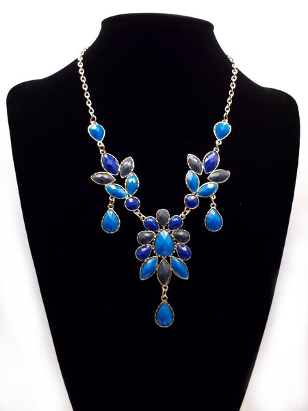 Shades of Blue Teardrop Leaf Necklace