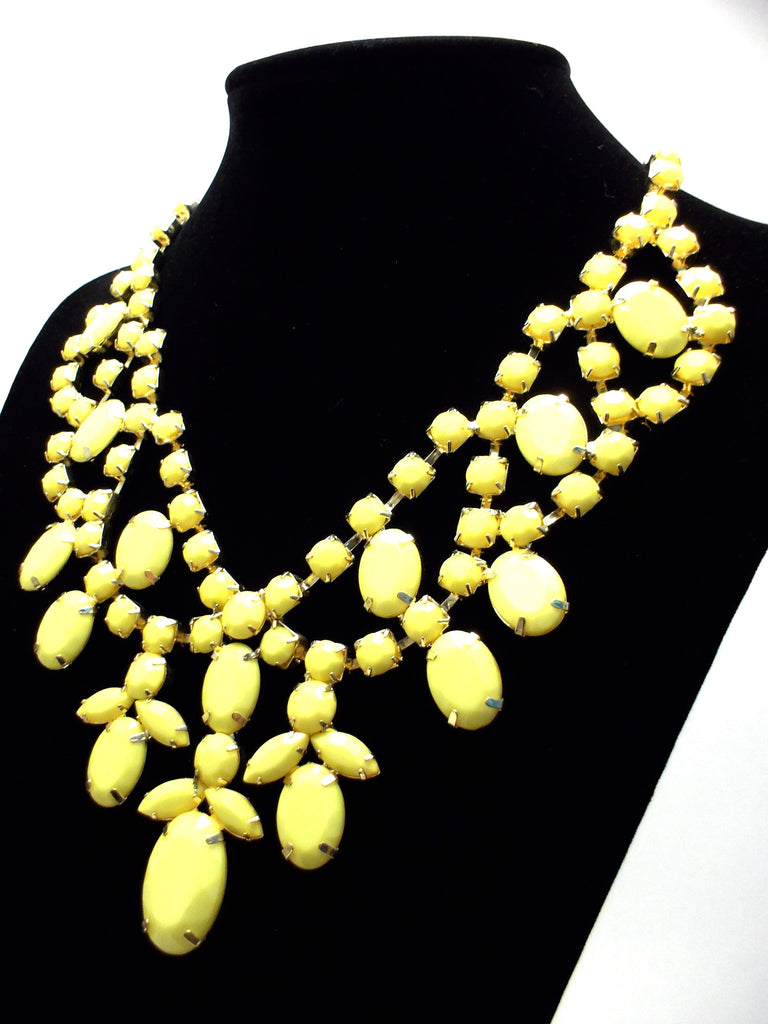 Bold Rhinestone Statement Necklace- Yellow