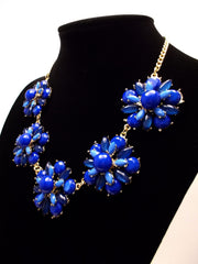 Floral Jeweled Gemstone Necklace- Royal