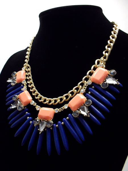 Tribal Spike Jeweled Necklace- Navy & Peach