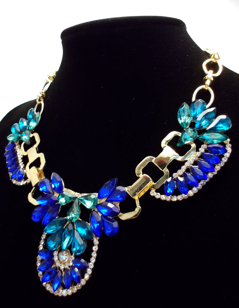 Crystal Icing Statement Necklace- Royal