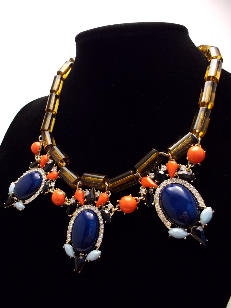 Colorful Beaded & Jeweled Statement Necklace- Brown & Navy