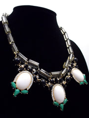 Colorful Beaded & Jeweled Statement Necklace- Gray & White