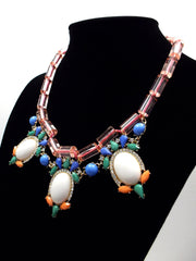 Colorful Beaded & Jeweled Statement Necklace- Pink & White