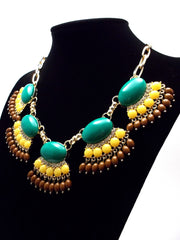 Fan Fringe Statement Necklace- Emerald