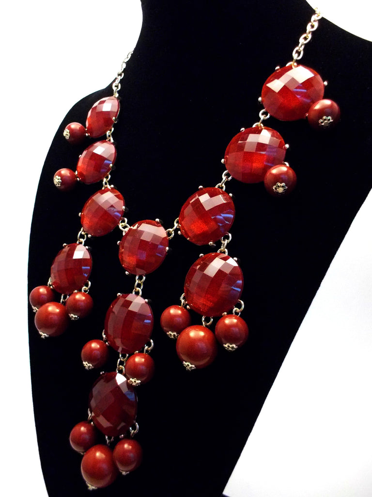 Bubble JEWELED Statement Necklace- Burgundy