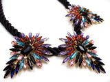 Three Pendant Rope Statement Necklace- Black